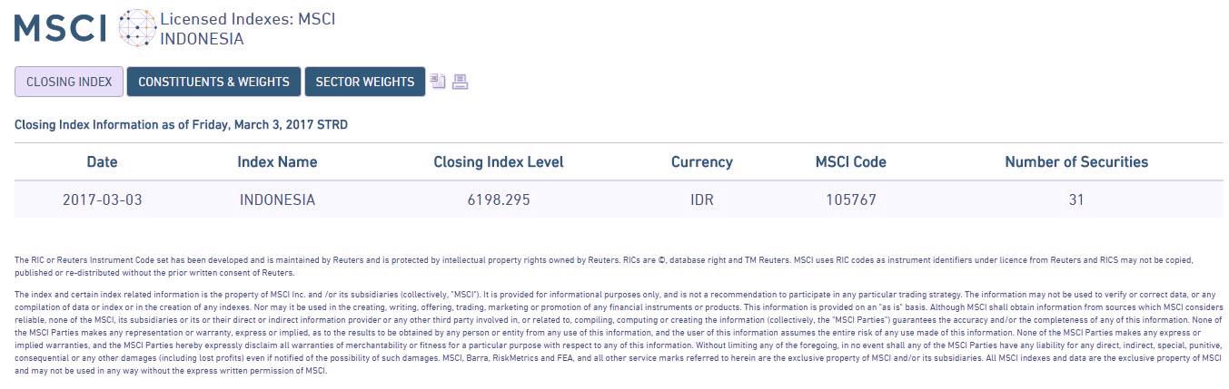 Index MSCI Sebagai Indikator Pasar Saham Indonesia dan Asean